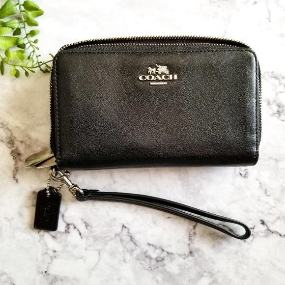Coach Handbags - Coach | Black Leather Double Zip Wristlet Wallet